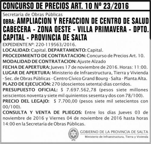 Concurso de Precios: Concurso de Precios Art. 10 Nº 23/2016