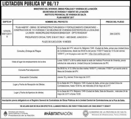 Licitación: Licitacion Publica 06/17 IPV