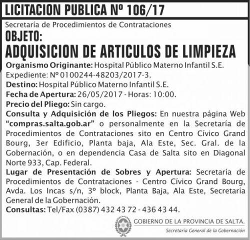 Licitación: Licitacion Publica 106/17 SGG HPMI