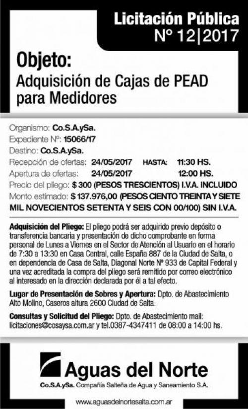 Licitación: LICITACIÓN PÚBLICA 12/2017 AGUAS DEL NORTE