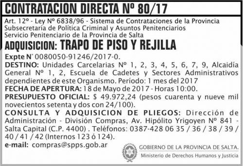 Compra Directa: Contratacion Directa 80/17 SPPS MDHJ