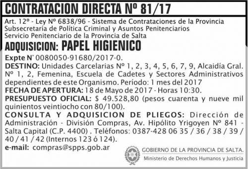 Compra Directa: Contratacion Directa 81/17 SPPS MDHJ