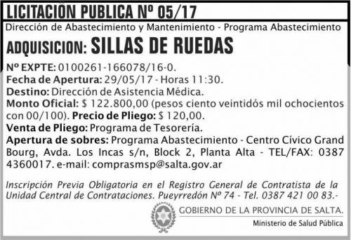 Licitación: Licitacion Publica 05/17 MSP