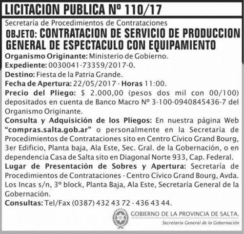 Licitación: Licitacion Publica 110/17 SGG MG