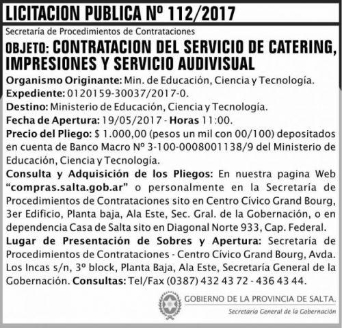 Licitación: Licitacion Publica 112/2017 SGG MECT