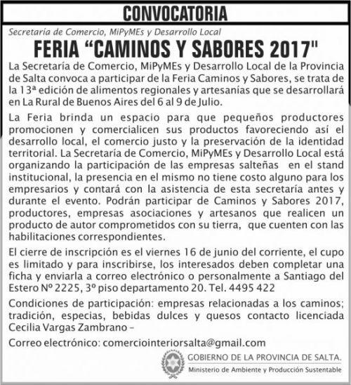 Edictos / Comunicados: CONVOCATORIA feria CAMINOS Y SABORES 2017 MAPS