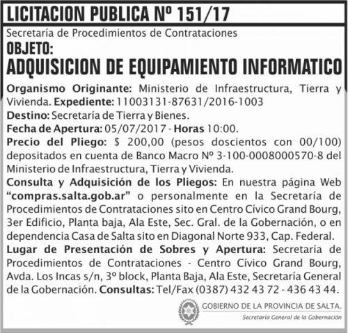 Licitación: Licitacion Publica 151 SGG MITV