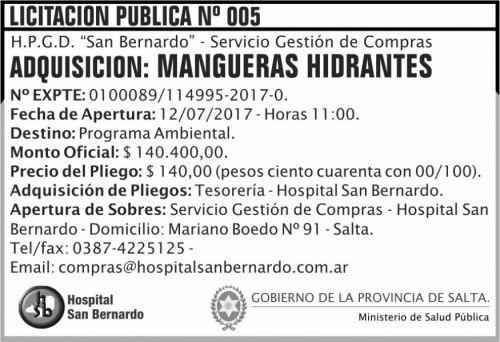Licitación: Licitacion Publica 05 MSP SB