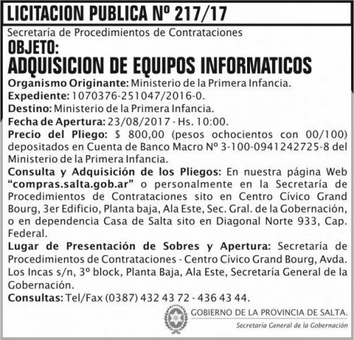 Licitación: Licitacion Publica 217 SGG MPI