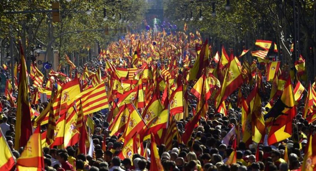 """El lema fue: """"¡Todos somos Cataluña! Por la convivencia, seny (sentido común)""""."""
