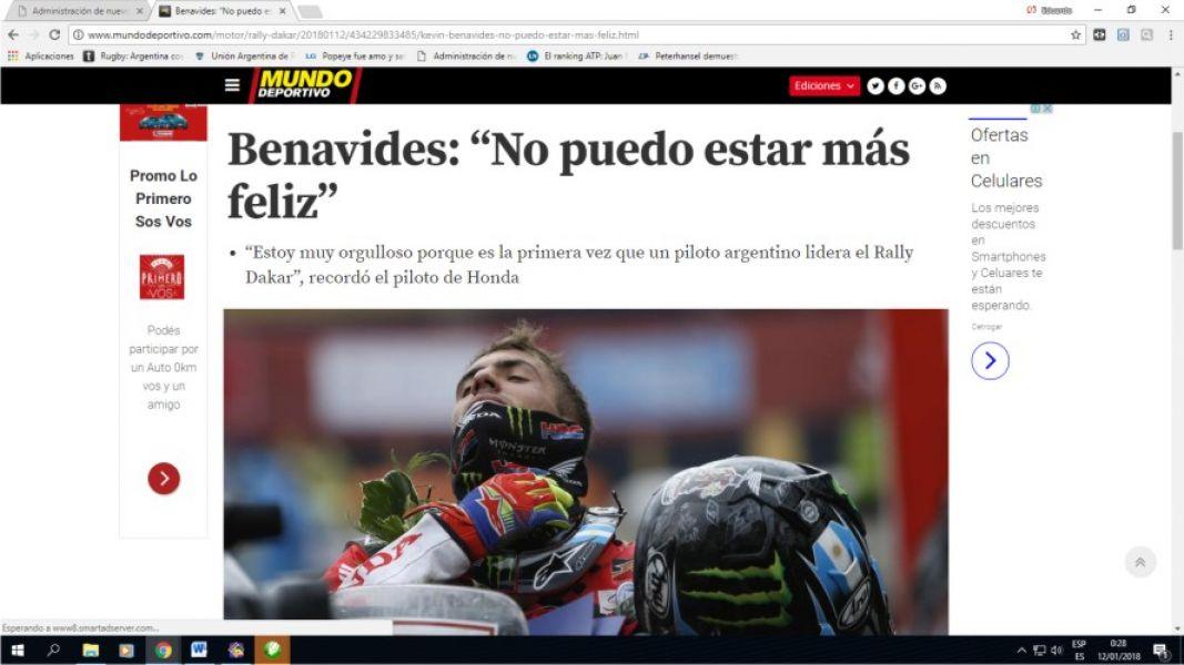 """Portada del diario """"Mundo Deportivo"""" de España. """"No puedo estar más feliz"""" titula en la nota con el motociclista salteño."""