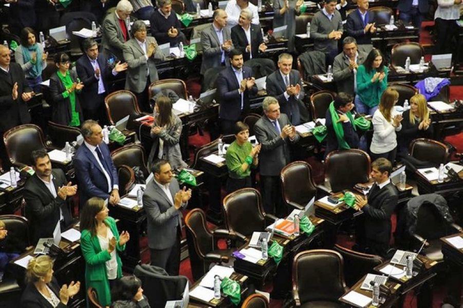 Los aplausos luego de la aprobación en Diputados. Ahora el proyecto pasa al Senado donde se sabe que la votación será aún más complicada.