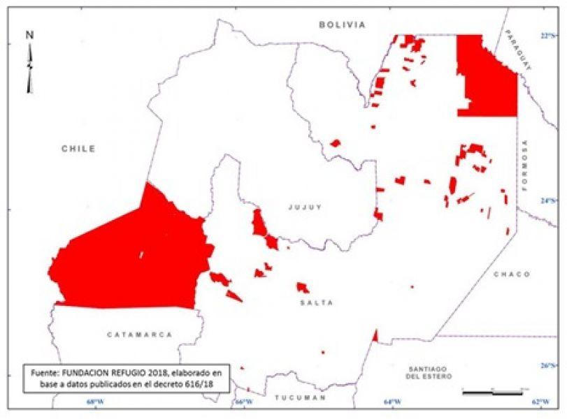 Según este mapa elaborado por la Fundación Refugio, los sectores pintados son las que fueron sumadas como áreas protegidas.