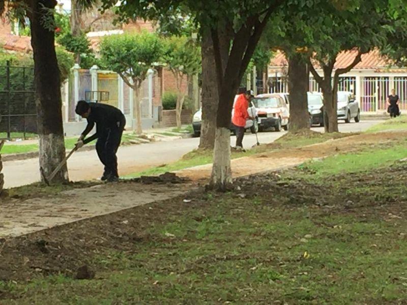 El trabajo de limpieza de chicos y vecinos en Plaza El Aybal, una nueva experiencia sobre el cuidado del medioambiente.