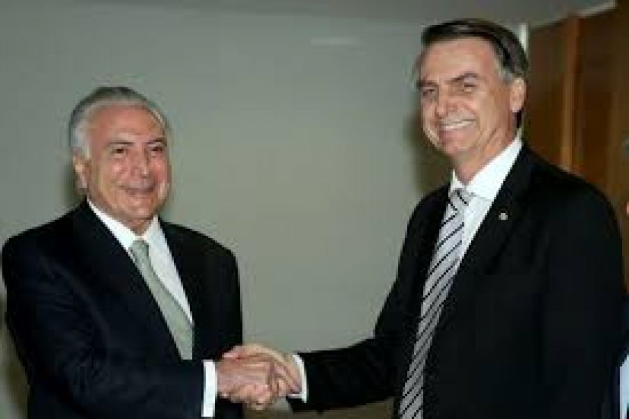 Michel Temer actual mandatario de Brasil y Jair Bolsonaro (presidente electo) que asume el 1 de enero.