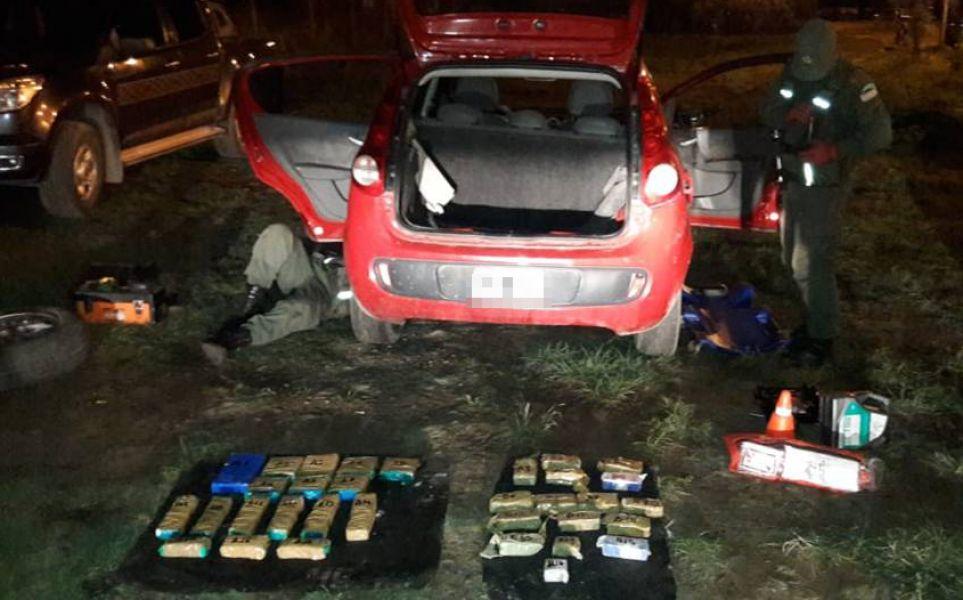 """Resultado del procedimiento contra narcos realizado en el puesto de Control """"Caraparí"""", sobre la Ruta Nacional N° 34 ."""