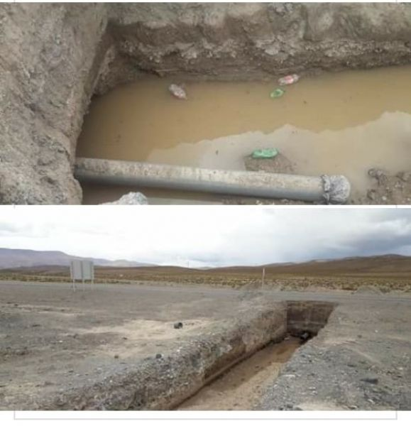 El agua circula con barro en los piletones. Piden finalización del acueducto El Acay, y mejoras en Agua Castilla. (Foto: El Expreso de Salta).