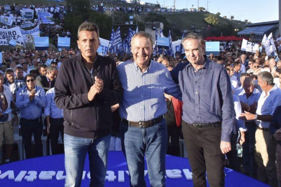 Sergio Massa, Juan Schiaretti y Miguel Ángel Pichetto en Mar del Plata, enel primer encuentro de Alternativa Federal del año.