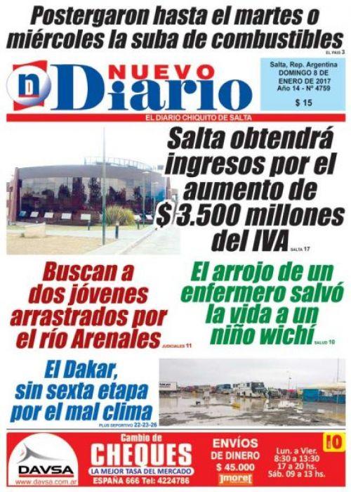 Tapa del 08/01/2017 Nuevo Diario de Salta