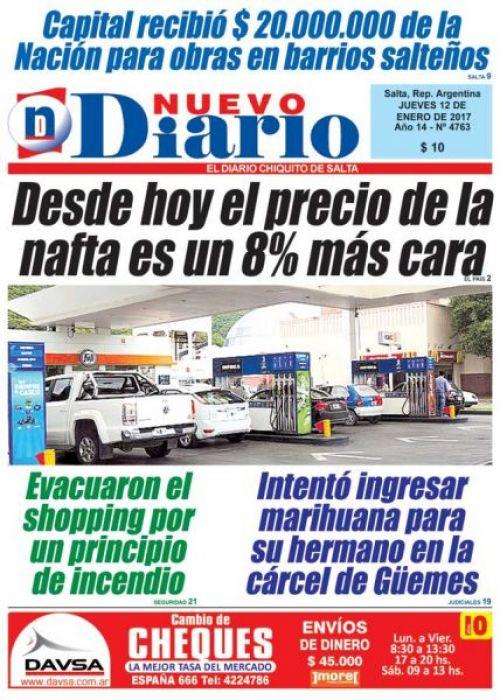 Tapa del 12/01/2017 Nuevo Diario de Salta