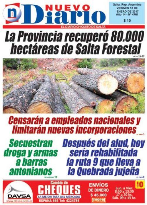 Tapa del 13/01/2017 Nuevo Diario de Salta
