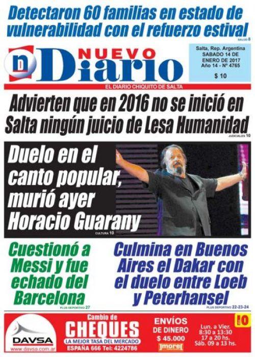 Tapa del 14/01/2017 Nuevo Diario de Salta
