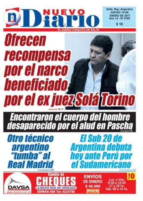 Tapa del 19/01/2017 Nuevo Diario de Salta