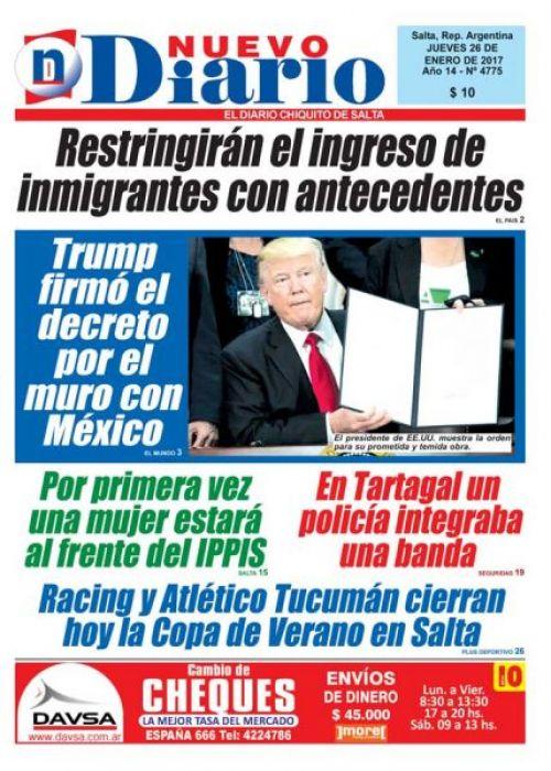Tapa del 26/01/2017 Nuevo Diario de Salta