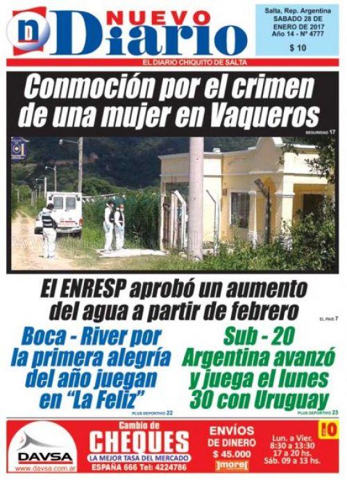 Tapa del 28/01/2017 Nuevo Diario de Salta