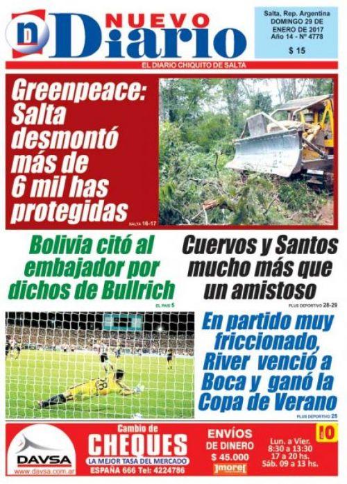 Tapa del 29/01/2017 Nuevo Diario de Salta