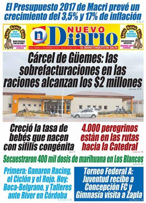 Tapa del 11/09/2016 Nuevo Diario de Salta