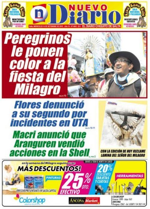 Tapa del 13/09/2016 Nuevo Diario de Salta