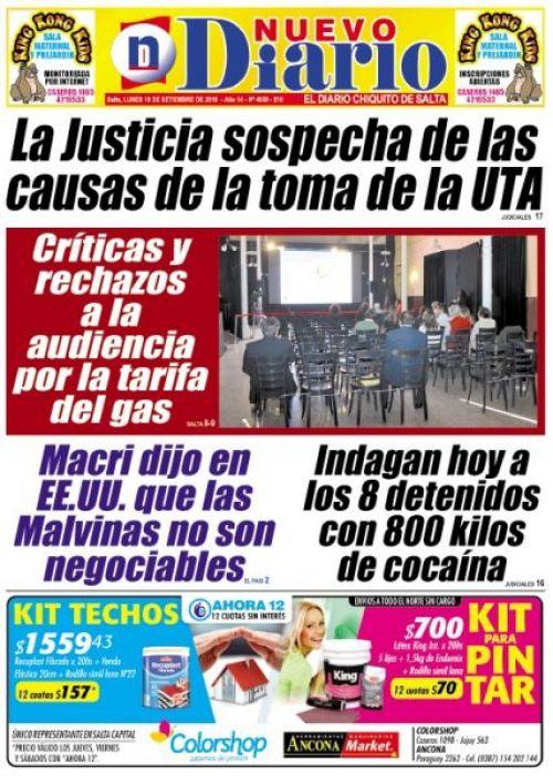 Tapa del 18/09/2016 Nuevo Diario de Salta