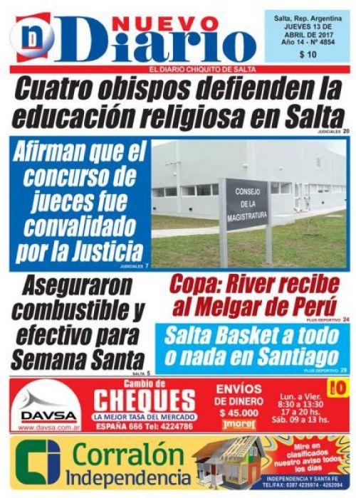 Tapa del 13/04/2017 Nuevo Diario de Salta