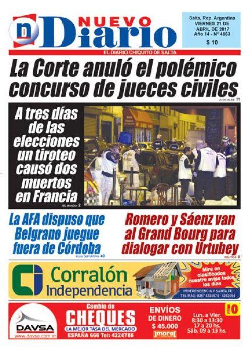 Tapa del 21/04/2017 Nuevo Diario de Salta