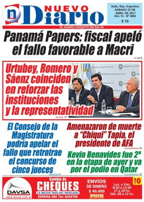 Tapa del 22/04/2017 Nuevo Diario de Salta