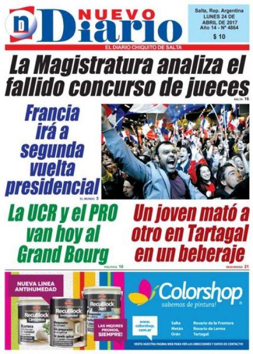 Tapa del 24/04/2017 Nuevo Diario de Salta