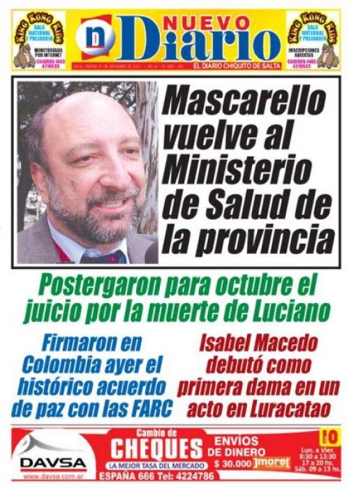 Tapa del 27/09/2016 Nuevo Diario de Salta