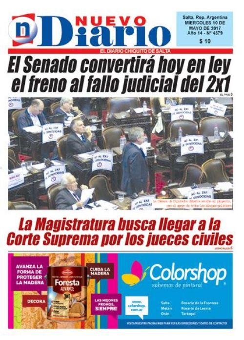 Tapa del 10/05/2017 Nuevo Diario de Salta