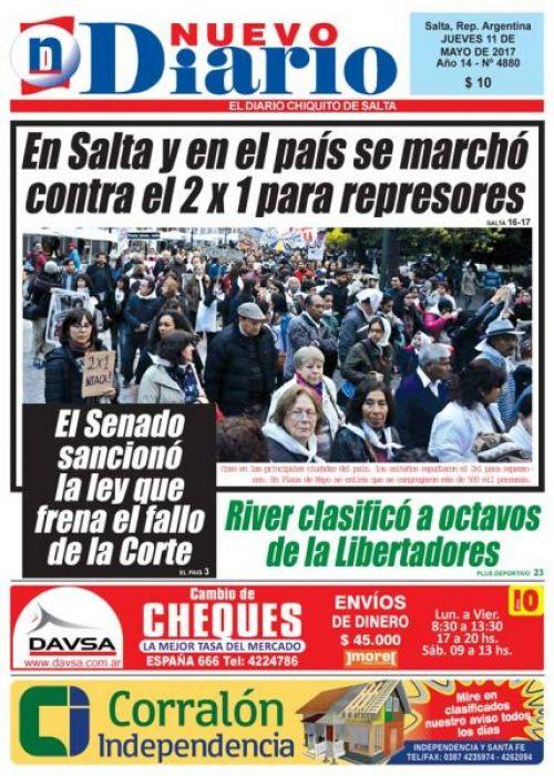 Tapa del 11/05/2017 Nuevo Diario de Salta