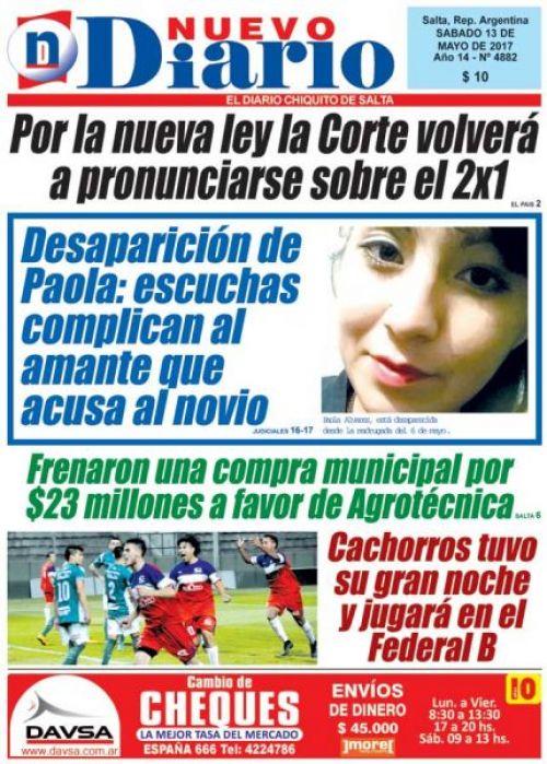 Tapa del 13/05/2017 Nuevo Diario de Salta