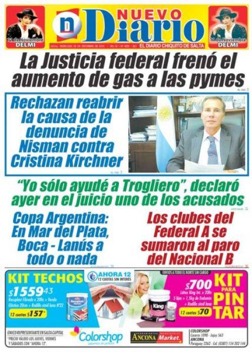 Tapa del 28/09/2016 Nuevo Diario de Salta