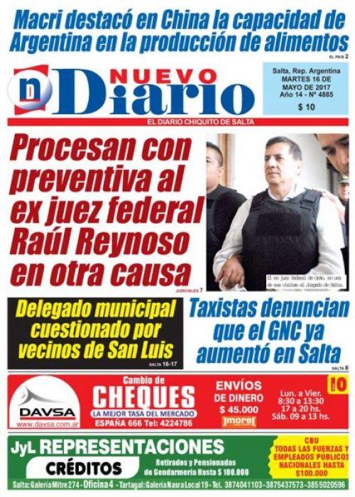 Tapa del 16/05/2017 Nuevo Diario de Salta