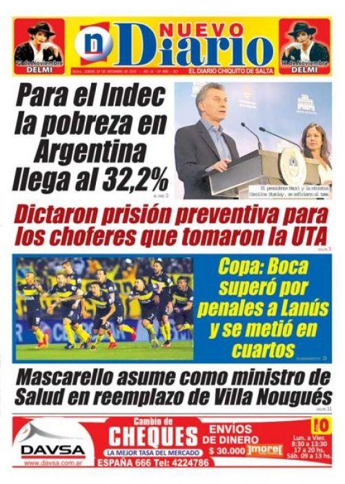 Tapa del 29/09/2016 Nuevo Diario de Salta