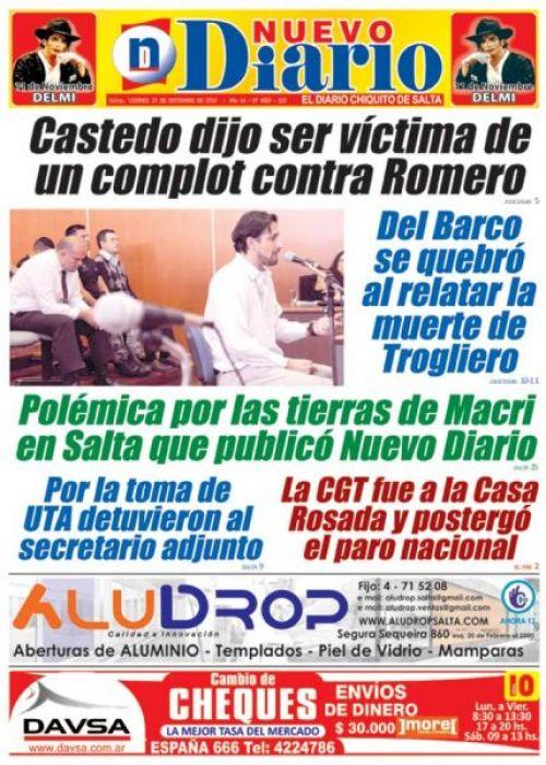 Tapa del 30/09/2016 Nuevo Diario de Salta