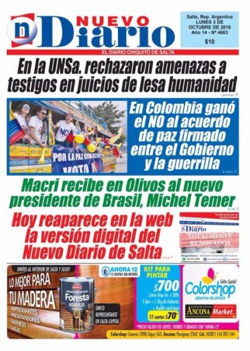 Tapa del 03/10/2016 Nuevo Diario de Salta