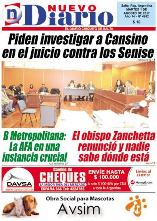 Tapa del 01/08/2017 Nuevo Diario de Salta