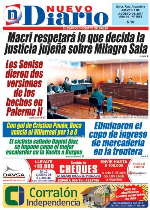 Tapa del 03/08/2017 Nuevo Diario de Salta