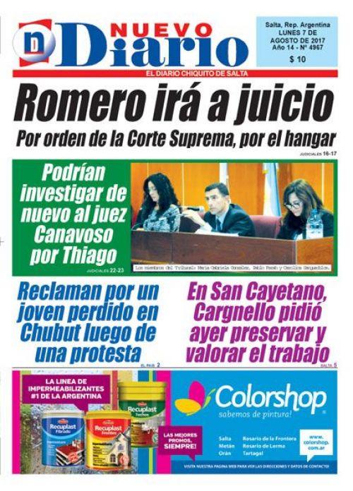 Tapa del 07/08/2017 Nuevo Diario de Salta
