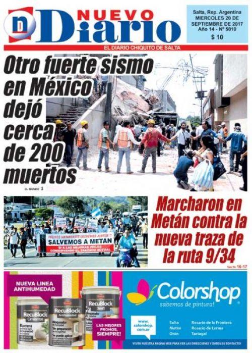 Tapa del 20/09/2017 Nuevo Diario de Salta